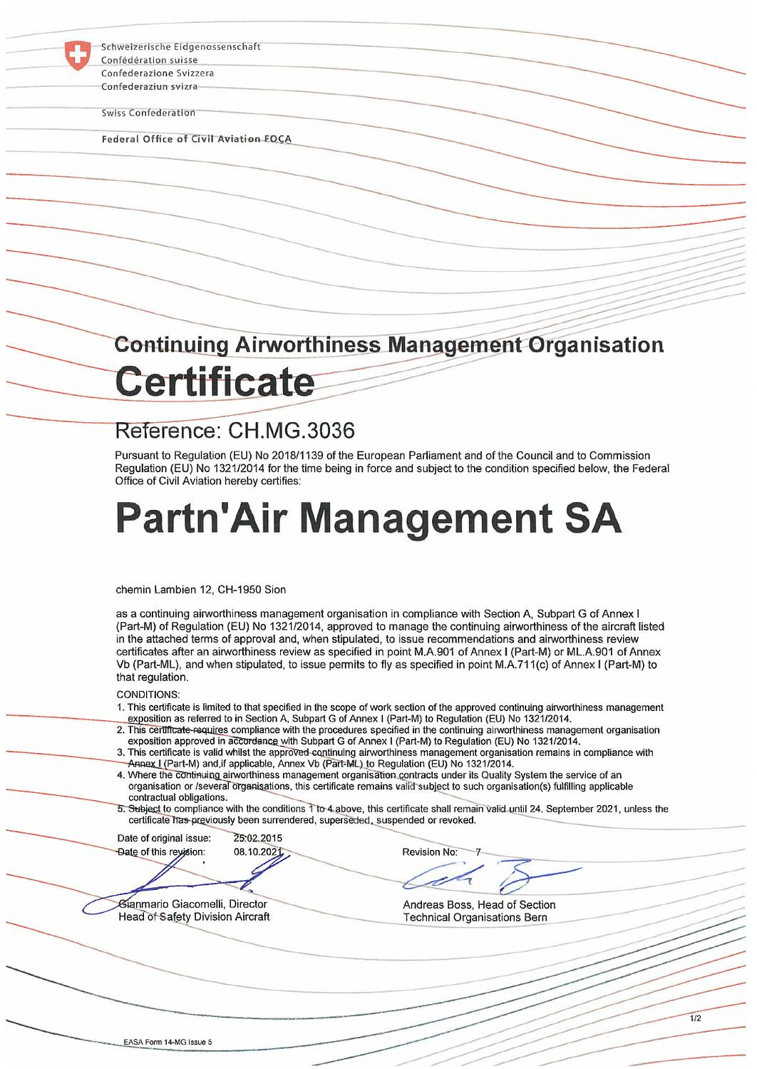 CAMO Certificate - Partn'Air