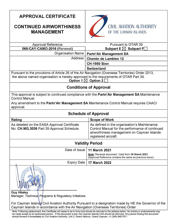 CAACI CAMO Certificate - Partn'Air Management - Partn'Air
